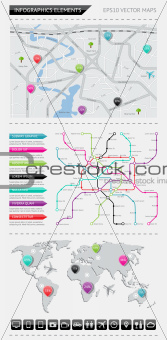 Infographics elements with maps