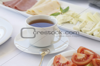 A cup of tea on breakfast table