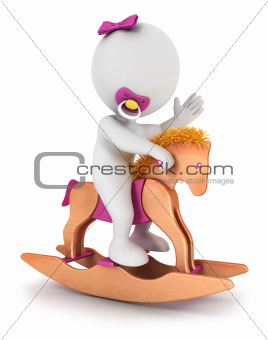 3d white people baby girl rides a horse toy