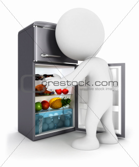 3d white people opens a fridge door