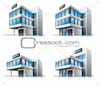 Four cartoon office vector buildings.