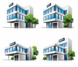 Four cartoon office vector buildings with trees.