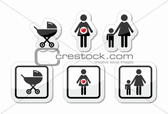 Baby icons set - parm, pregnancy, mother