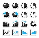 Chart graph black and blue icons as labels