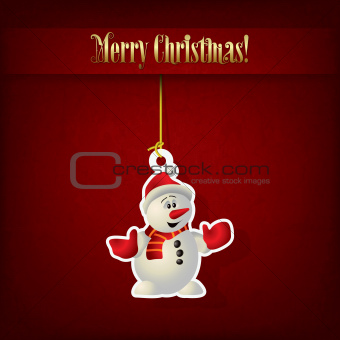Abstract Christmas greeting with snowman