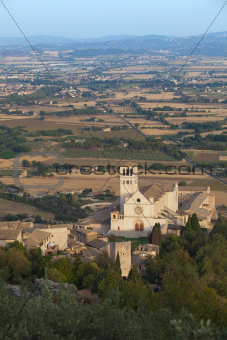 San Francis church at Assisi and countryside of Umbria