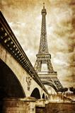 Eiffel tower vintage retro view from Seine river, Paris