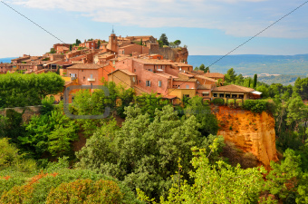 Roussillon village sunset view, Provence, France