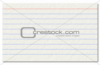 Old index card isolated on a white background.