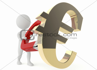 3d character hold a horseshoe magnet and a euro symbol