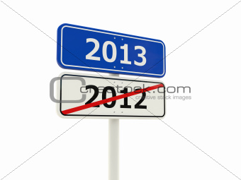 2013 New Year road sign isolated on white