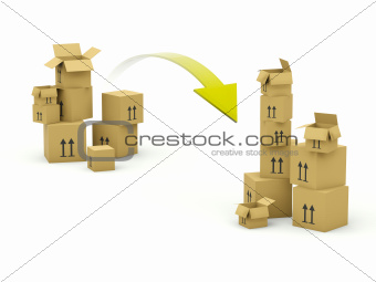Boxes with arrow isolated on white