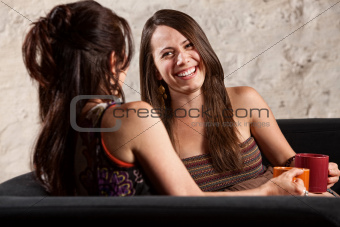 Beautiful Woman Laughing with Friend