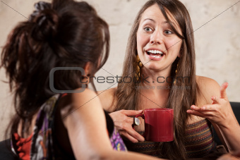 Excited Woman Talking with Friend