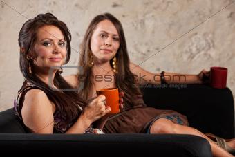 Smiling Calm Women Sitting