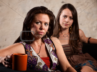 Worried Women Sitting