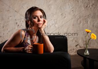 Serious Lady on Sofa