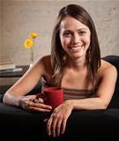 Attractive Woman Relaxing with Mug
