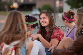 Teenage European Girl with Friends