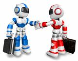 Shake hands with the red robots and the blue robots. 3D Robot Ch