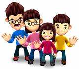 Happy family welcome. 3D Home Character