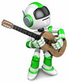 Green robot to play the acoustic guitar. 3D Robot Character