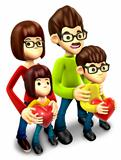 Happy family holding a heart. 3D Family Character