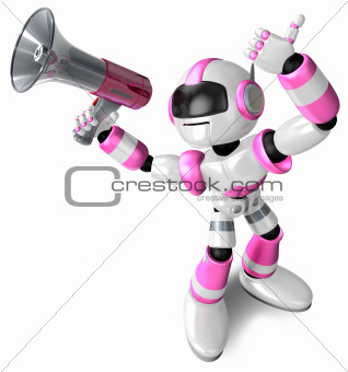 The pink robot in to promote Sold as a loudspeaker. 3D Robot Character 