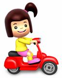 Red motorcycle ride travel girls. 3D Children Character