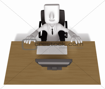 Business Man sitting at a desk. 3D Business Character
