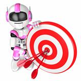A Pink Robot the Darts Gamesr. 3D Robot Character