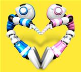 The heart in the form of body language. 3D Robot Character