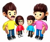 Queue with the Happy a family. 3D Family Character