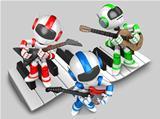 Robot to play the guitar. 3D Robot Character