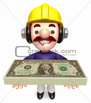 Construction Workers lift up the Dollar Bundle