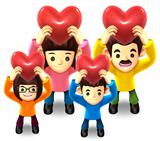 Family Lift up the a heart. 3D Family Character
