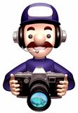 Service man Grabs a Old camera. 3D Service Man Character