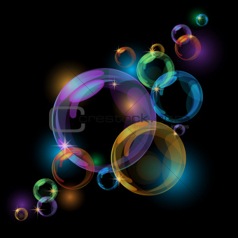 Black abstract background with transparent bubbles.