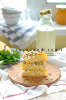 Cornmeal Flatbread with Cheese and Sunflower Kernels