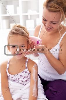 Beauty ritual - little girl after bath
