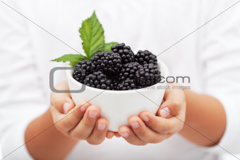 Hands holding a bowl with fresh blackberries