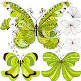 Set green vintage butterflies