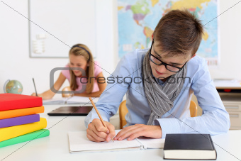 Teenage students in class
