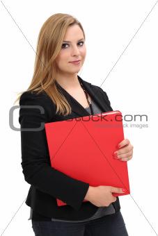 Beautiful woman holding binder
