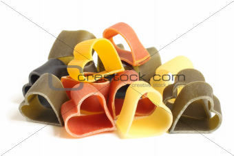 Heart-shaped colored Italian pasta
