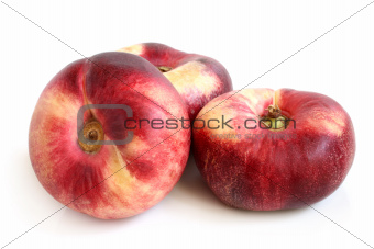 Fresh flat peach fruits