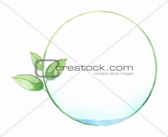 green leaf circle painting