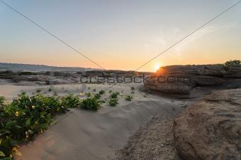 Sun in Sampanbok in Mekong River, Ubon Ratchathani, Thailand