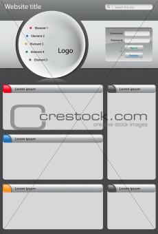 Gray website design template on dark background