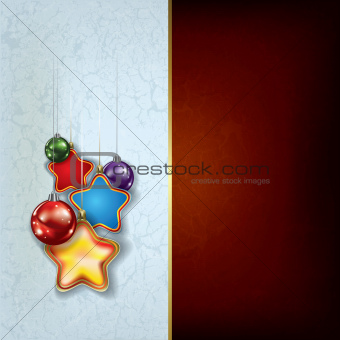 grunge Christmas greeting with stars and balls